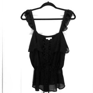 New York & Company Sheer Black Skinny Strap Top